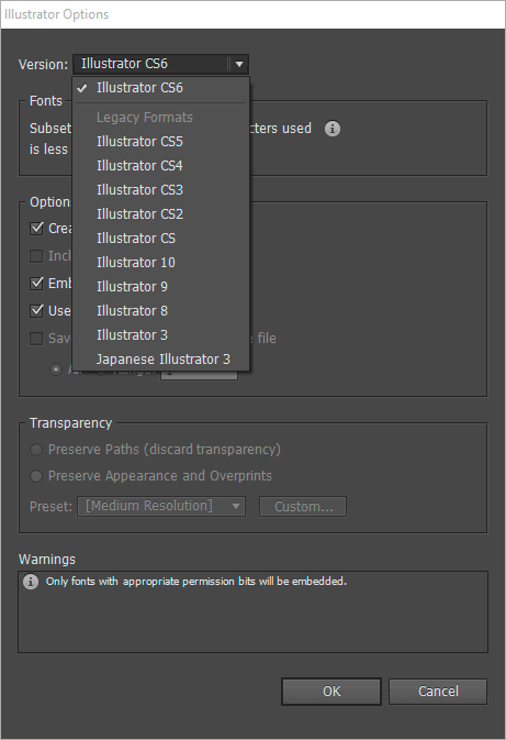 Illustrator Save As dialog with legacy formats